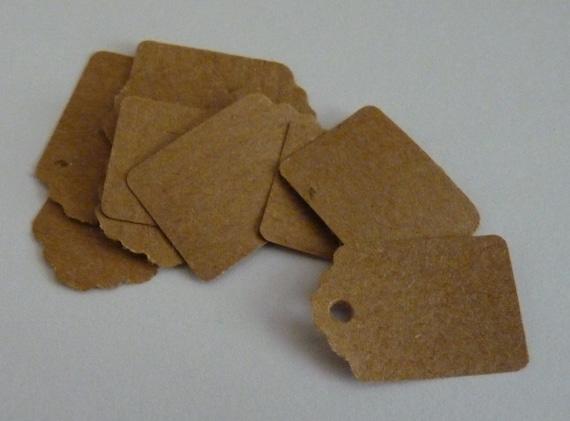 50 small plain kraft brown paper price hang gift tags