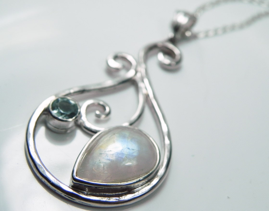 moonstone necklace rainbow moonstone pendant by