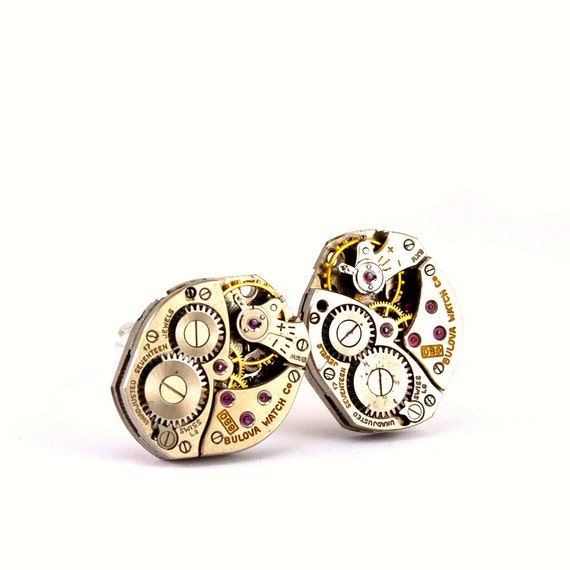 Steampunk Cufflinks - Handsome Men's Bulova Clockwork Cuff Links Design - All Steampunk Jewelry PROMPTLY SHIPPED