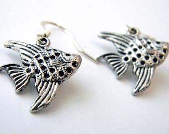 Silver Angelfish Earrings Dangle Earrings Silver Color