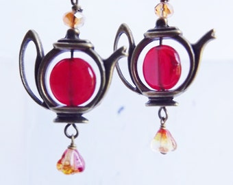 Bright Red, Brass Tea Pot, Tea Time Jewelry