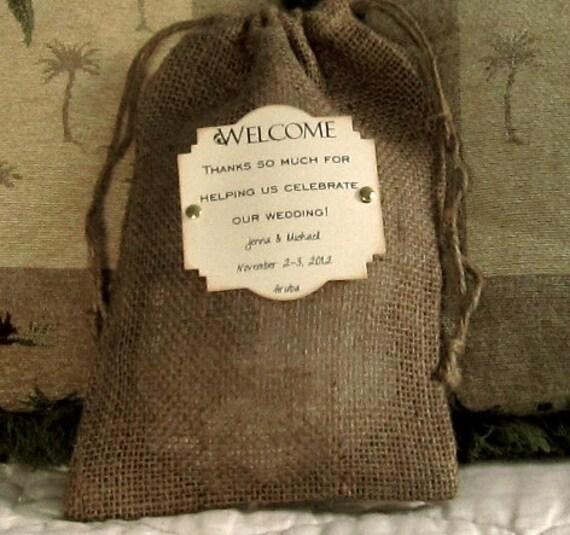 10 Burlap Wedding Welcome bags - 8 X 12 - Personalized - Brads - Destination wedding