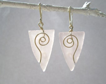 Pink seaglass arrowhead earrings