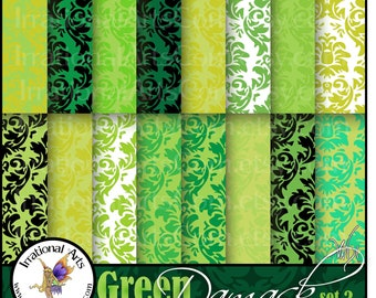 Damask GREEN set 2 INSTANT DOWNLOAD Digital Papers 16 beautiful green damask papers