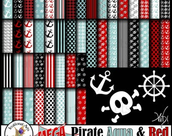 MEGA Set Pirate Aqua & Red - 48 jpg digital papers and 3 png Graphics for Scrapbooking Papers [INSTANT DOWNLOAD]