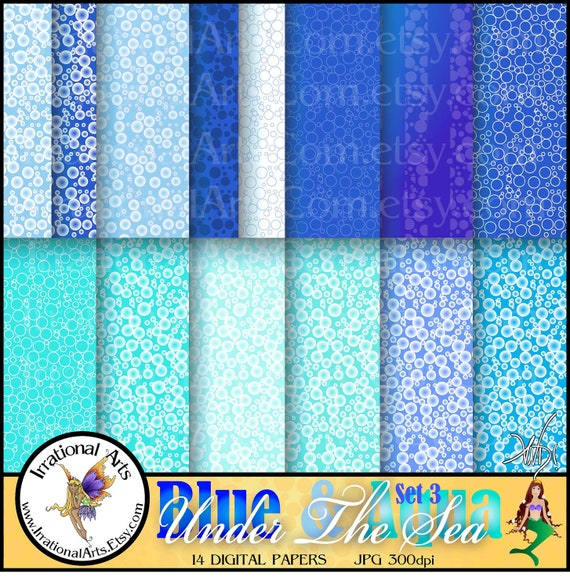 Under The Sea BLUE & AQUa set 3 INSTANT DOWNLOAD of 14 jpg files Digital scrapbooking papers with bubbles in blues and aquas