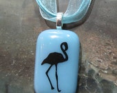 Fused Glass Pendant: Fred the Flamingo