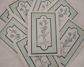 Set of 8 aqua and navy elegant floral window frame thank you notes