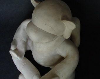 Zen ceramic sock monkey sculpture-CUSTOM ORDER