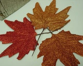 GLITTERED FALL LEAVES / fall scatter leaves / fall table decor / large fall maple leaves glittered