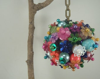 Funky Beaded Christmas Ornament Multi Colored Hanging Decoration