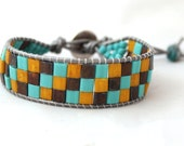 Turquoise, Mustard,and Copper Tila Leather Cuff