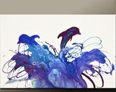 Abstract Canvas Art Painting 36x24 Original Modern Contemporary Paintings by Destiny Womack - dWo - The Dancing Dolphins - SUPER SALE