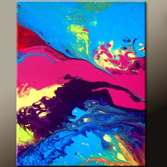 Abstract Art Painting 11x14 Original Contemporary Paintings on Canvas by Destiny Womack - dWo -  Daydreams