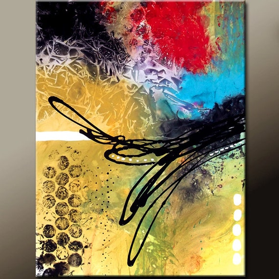 Original Abstract Art 18x24 Contemporary Modern Ready to hang Canvas Art Painting by Destiny Womack - dWo - Random Thoughts