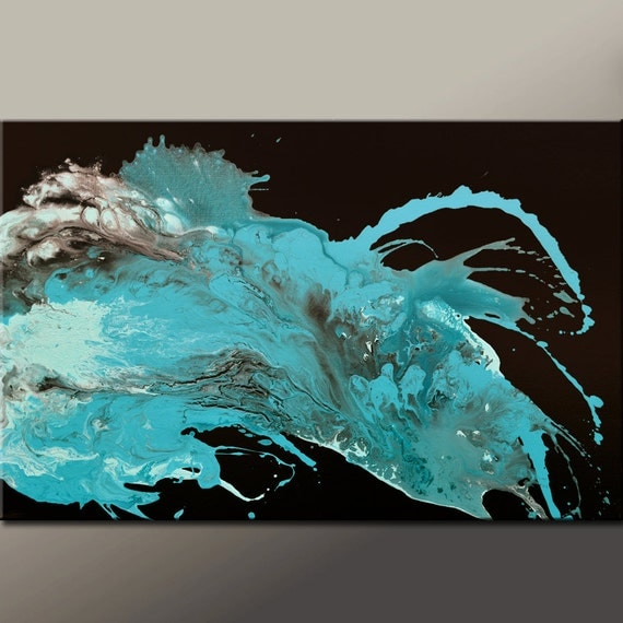 Abstract Art Original Painting 36x24 Contemporary Canvas Art by Destiny Womack - dWo - These Tears Keep Falling ON SALE