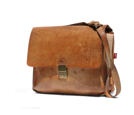 Vintage BREE Tan Leather His or Hers Briefcase Bag