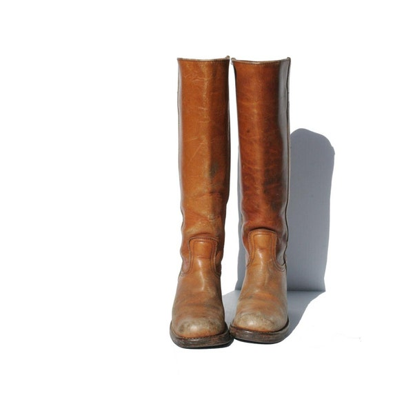 Vintage Tan Leather Campus Boots size: 5.5
