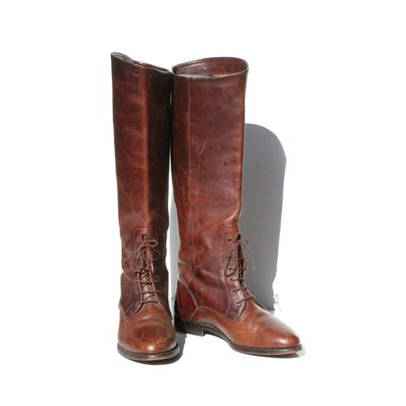 Burgundy Brown Leather COLE HAAN Leather Tall Boots size: 8