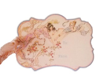 Art Nouveau Tag, Paris Tag, Pale Pink Nouveau Women, Double Thickness Gift Tag, Lavender, Cottage Chic, Soft Pale Pink