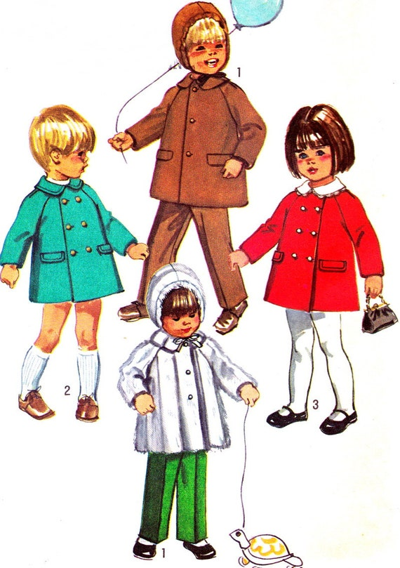 Vintage Sewing Pattern 1970s Simplicity 9042 Toddler Coat, Detachable Collar, Hood, Pants Size 1 Breast/Chest 20
