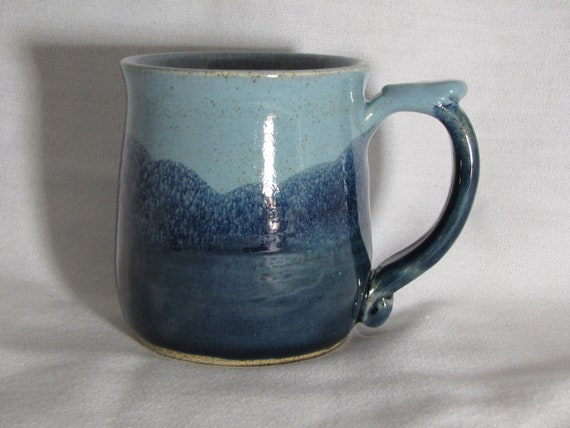 Country BLUES With White Inside Coffee Mug Stoneware Pottery