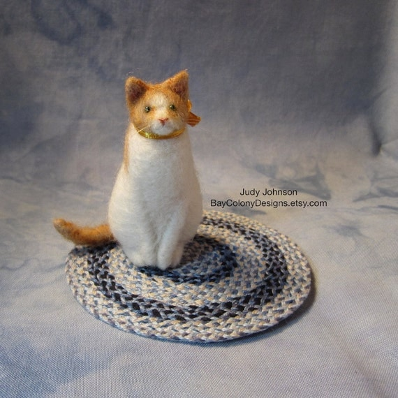 READY FOR ADOPTION- Needle-Felted Sitting Cat Art Sculpture Figurine with gold ribbon bow (73012a)
