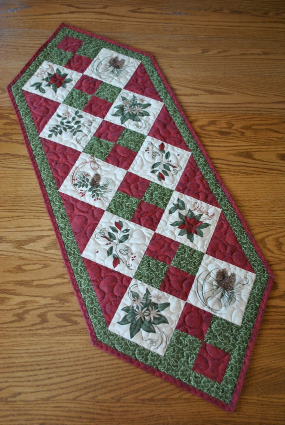 "Christmas Poinsettia and Pinecone Patchwork Tablerunner 16"" x 43 1/2"""