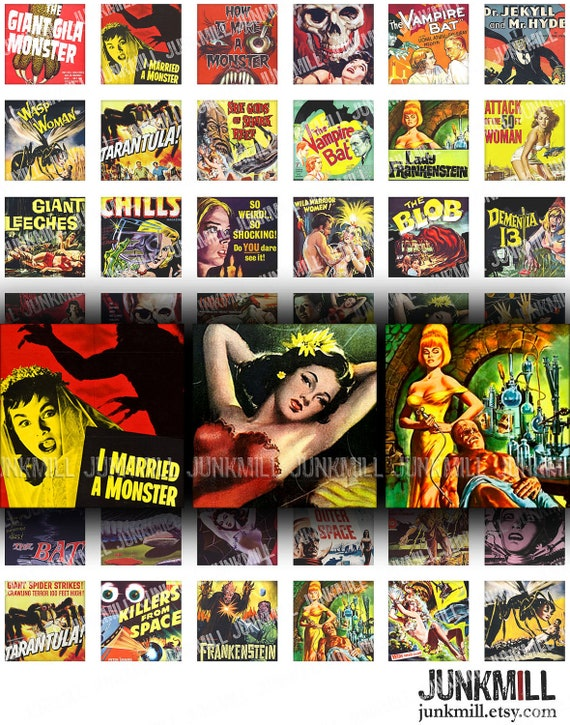 """CULT CLASSICS - Digital Printable Collage Sheet - Retro Science Fiction & Horror Movies, 1"""" Square or Scrabble Tile, Instant Download"""