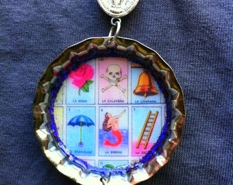 Large Bottlecap Loteria Miraculous Medal Crucifix Pink Bead necklace
