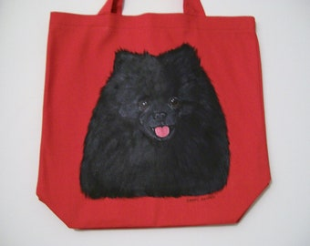 Reuseable Canvas Tote with a Black Pomeranian Dog