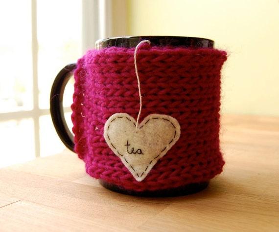 Tea Love Mug Cozy Knitted Chai Heart Cup Cosy