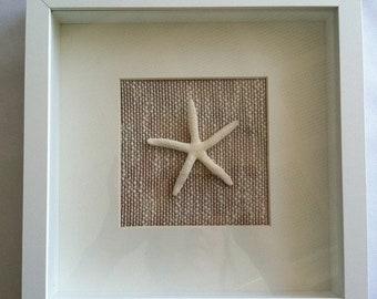 Starfish Wall Hanging Natural Woven Linen White Frame Bridesmaid Gift