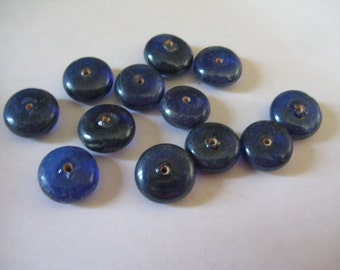Lot of 16 15x8mm Dark blue Ceramic Disc or Rondelle or Saucer  Beads Vintage and Beautiful