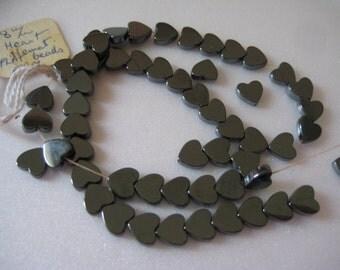 Lot of 55 8mm Genuine Hematite Flat Heart Shaped Beads