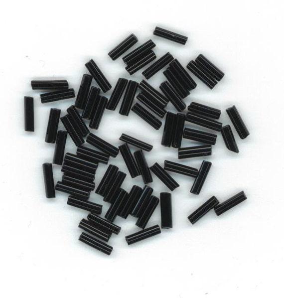 30 g Black Vintage Bugle Beads 6 mm DESTASH by enchantedbeas on Etsy