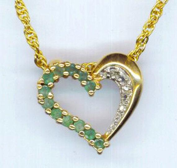 Vintage Peridot Stones Necklace. Sterling Silver Vermeil Heart Pendant. Emerald Green Gold Valentine -Romantic Love by enchantedbeas on Etsy
