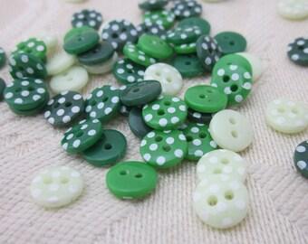 Mini Green Mix Polkadot Buttons
