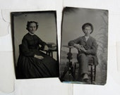two antique tintype photos - a blushing girl and a sleepy boy