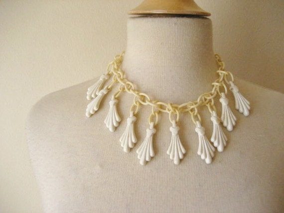 Vintage Celluloid Chain Link Necklace with Art Deco Style Charms