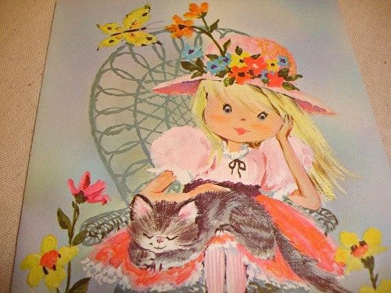 Vintage Angie Retro Girl Birthday Cards      j