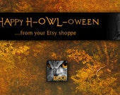 RESERVED for Butternut Hollow Owl Halloween Banner and Avatar