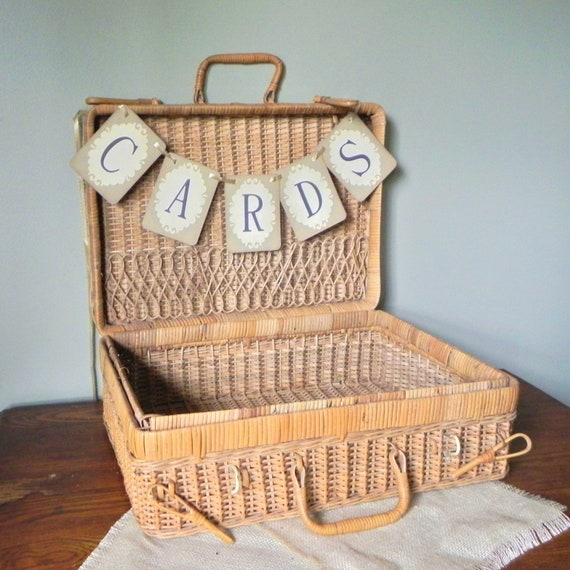 Wedding Gift Picnic Basket : Vintage wicker suitcase picnic basket perfect for wedding cards