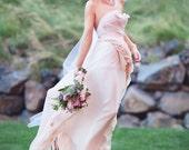 Before Sunrise - One off - Royal Blush Wedding Gown - Bohemian full train flowers pearls