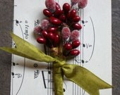 Frosted Red Holiday Stamen Bouquet - Millinery Stamen Posy - Sugar Red Stamen Posy - Winter Red Berry Wedding Table Place Setting