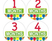 12 Monthly Baby Milestone Waterproof Glossy Stickers - Just Born - Newborn - Weekly stickers available - Design M024-01