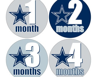 12 Monthly Baby Milestone Waterproof Glossy Stickers - Dallas Cowboys Inspired  - Design M028-01