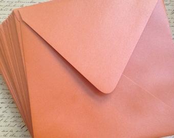 "Envelopes Square 6"" Stardream Metallic FLAME Orange / Wedding Party Invites"