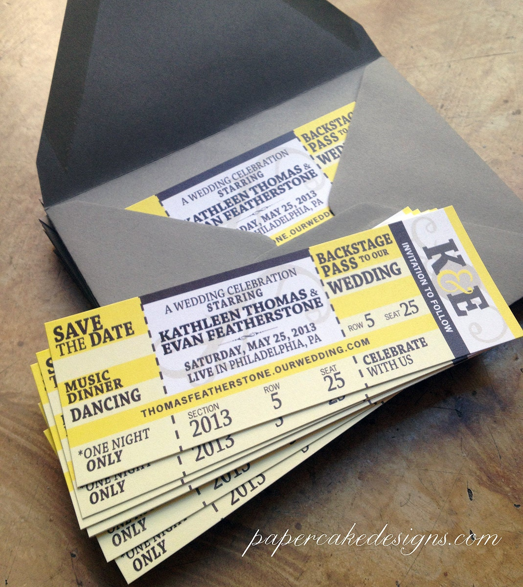 concert ticket wedding save the date by papercakedesigns