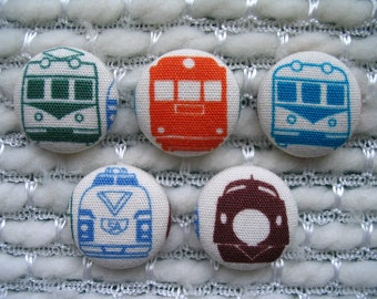 """Train Button, Japanese Trains Fabric Covered Buttons - Set of Five 7/8"""" buttons, Green Orange Blue White Brown, Retro Japan Train"""